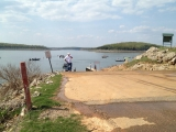 The view down the boat ramp at Bull Shoals Reservoir