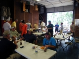 Lining up for the lunch line after morning fishing