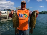 Bill Cisler with 2 nice smallmouth bass 2017 National Semi-Final