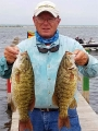 Co-angler Bob Kowal with 2 smallmouth bass
