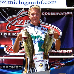 Past TBF of Michigan state champion Nick Marsh weighed in the big bass of the event at Pontiac Lake, 3.35 pounds largemouth