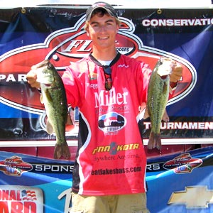 2012 TBF of Michigan older group Jr State Champion Danny Sprague with a couple nice largemouth bass from his winning limit