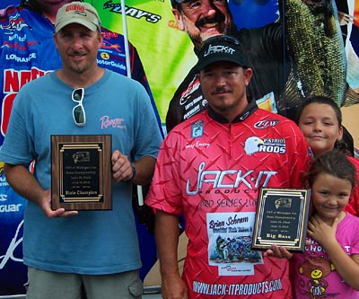 2012 TBF of Michigan State Champion Rick Roberts pictured here with big bass winner Gary Emery and his kids