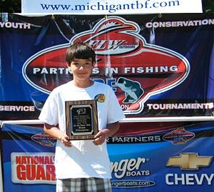 2012 TBF of Michigan younger group winner Matt Davis shows his Jr State Champion trophy
