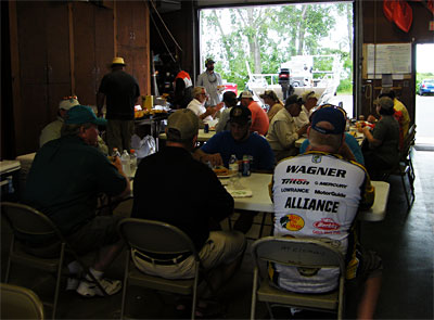Participants enjoy lunch on TBF of Michigan after the morning fishing on Lake St. Clair.