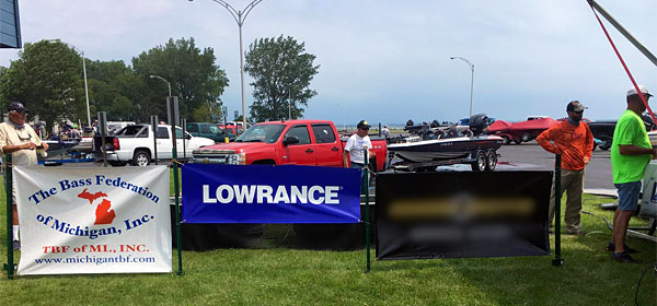 Lowrance banner at 2017 TBF of Michigan State Championship, Lake St. Clair, Harley Ensign BAS