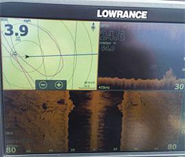 Matt Belletini Lowrance side imaging screen shot of a Saginaw Bay 'pirate ship' 2017-12-11