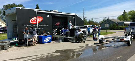 2018 TBF of Michigan State Championship - our partner FLW provided the weigh-in staff, trailer and equipment for the event on Burt and Mullett Lakes.