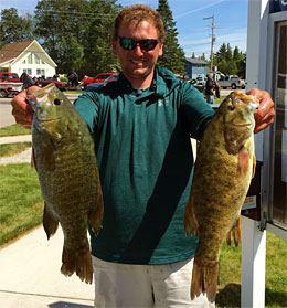 Josh Kolodzaike with two big smallmouths - finished in 2nd place as a boater with 19 pounds 5 ounces at the 2018 TBF of Michigan State Championship June 10th.