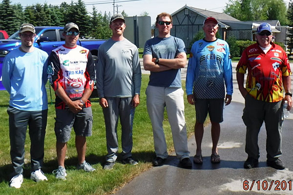 TBF of Michigan 2018 State Championship top six boaters (L to R) Dan Houser, Ryan Hochstetter, Troy Stokes, Josh Kolodzaike, Randy Ramsey, Dan O'Neil