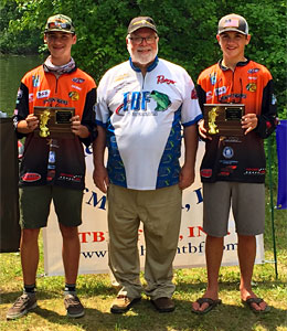 2018 TBF of Michigan Junior State Championship winners Henri Sturm and Mitchell Straffon pose with president Dave Reault