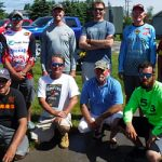 The Bass Federation of Michigan 2018 State Championship top boaters (standing) and top co-anglers (kneeling).